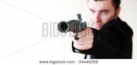 Man Is Ready To Shoot