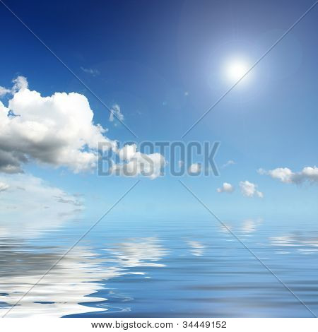 Sky,clouds,sun,water