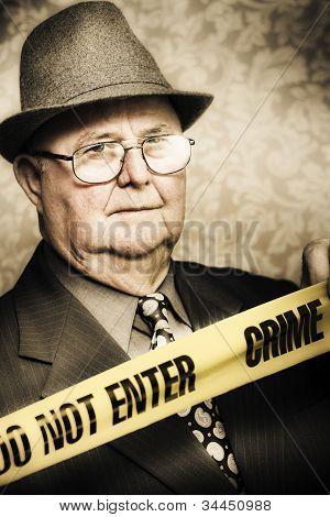 Vintage Portrait Of A Crime Detective
