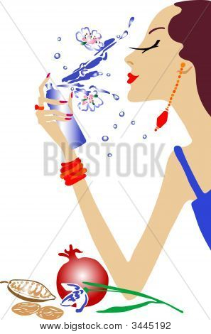 Fashion Girl Make Up - Vector Illustraion. Fully Editable, Easy Color Change.