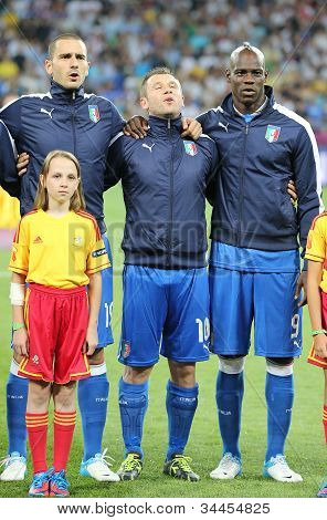 Leonardo Bonucci (l), Antonio Cassano (c) And Mario Balotelli From Italy