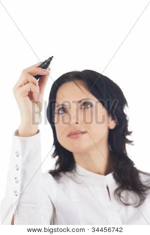 Portrait Of Lovely Brunette Woman Holding Pen
