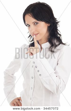 Lovely Brunette Woman Showing Sh! Sign Isolated Over White