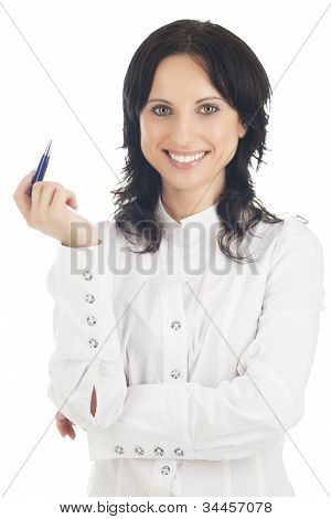Portrait Of Lovely Brunette Woman Hoding Pen In Front And Isolated Over White