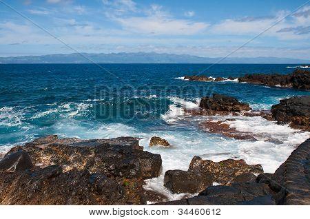Coast Of Volcanic Island Pico