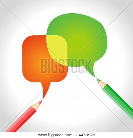vector background of brightly colored pencils and Speech Bubble. File is saved in AI10 EPS