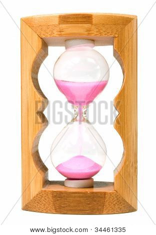 Pink Sandglass Isolated On White