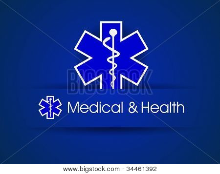 Medical sign,  caduceus on blue. EPS 10.