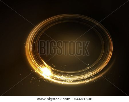Oval placeholder, frame with light effects in shades of gold and yellow on dark brown background. Space for your text.
