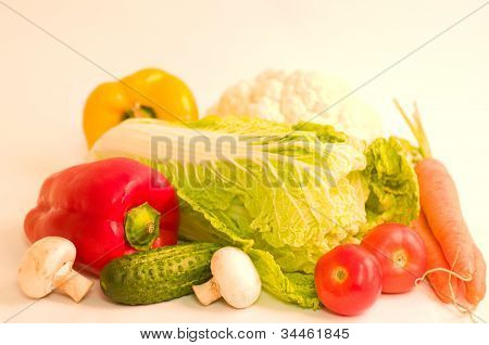 A healthy seasonal vegetables in their raw form on the background of