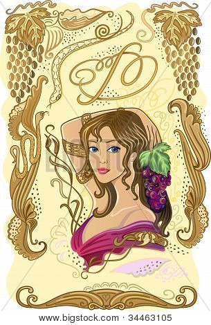 Rótulo de vinho decorado com uvas e menina