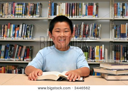Smile Boy At Library