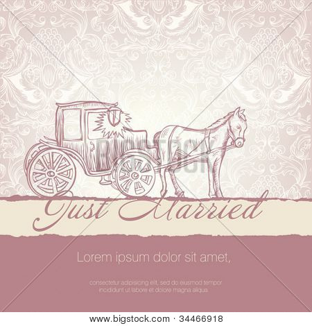 Wedding card with typographic template. Vector EPS10.