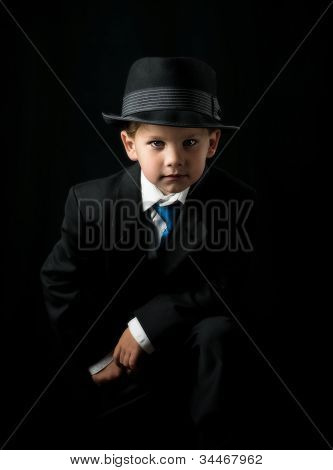 Boy in dark suit
