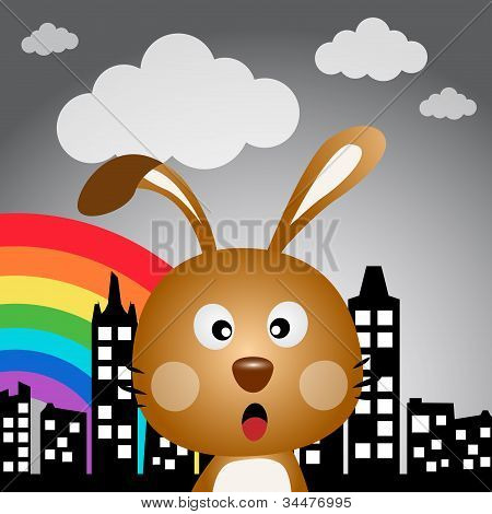 Rabbit in the city with rainbow
