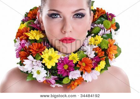Young make-up Beauty with flower wreath around neck