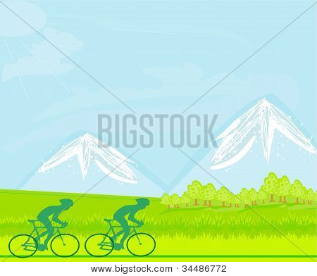 Cycling Grunge Poster Template , vector illustration