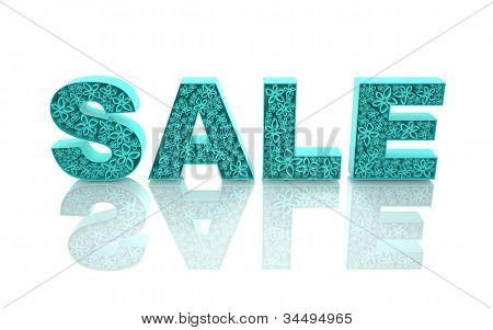 """The word """"sale"""" is made with blue forms with abstract flowers."""