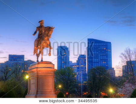 George Washington Equestrian Statue at Public Garden in Boston, Massachusetts.