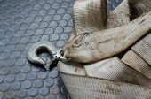 Tow Rope With Hook. Top View Of Used Tow Rope. Selective Focus. Car Accessories poster