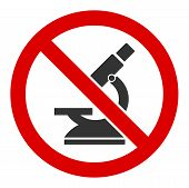No Microscope Vector Icon. Flat No Microscope Pictogram Is Isolated On A White Background. poster