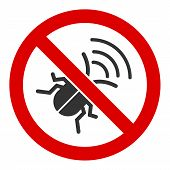 No Spy Bug Vector Icon. Flat No Spy Bug Pictogram Is Isolated On A White Background. poster