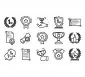 Set Of Awards Vector Icons.  Glory Shield, Prize Winner, Rank Star, Outline Icon Design. High Qualit poster