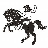 Rider In Cowboy Hat Riding Horse In Vintage Monochrome Style Isolated Vector Illustration poster