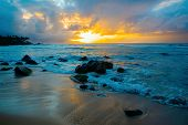 North Shore Of Oahu, Hawaii, At Sunset poster