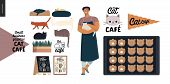 Cat Cafe -small Business Graphics -owner, Cats And Cookies. Modern Flat Vector Concept Illustrations poster