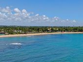 Aerial View Of Tropical White Sand Beach, Palm Trees And Turquoise Clear Sea Water In Praia Do Forte poster