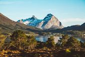 Norway Mountains And Landscapes On The Islands Lofoten. Natural Scandinavian Landscape. Place For Te poster