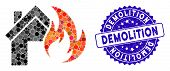 Mosaic Home Fire Disaster Icon And Grunge Stamp Watermark With Demolition Caption. Mosaic Vector Is  poster
