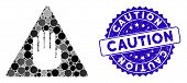 Mosaic Caution Icon And Corroded Stamp Seal With Caution Caption. Mosaic Vector Is Composed With Cau poster