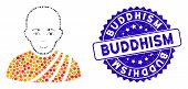 Mosaic Buddhist Monk Icon And Corroded Stamp Seal With Buddhism Caption. Mosaic Vector Is Created Wi poster