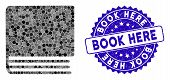 Mosaic Book Icon And Distressed Stamp Watermark With Book Here Text. Mosaic Vector Is Created With B poster