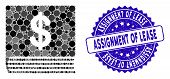 Collage Dollar Accounting Book Icon And Distressed Stamp Seal With Assignment Of Lease Phrase. Mosai poster