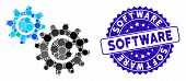 Collage Cogs Rotation Icon And Corroded Stamp Seal With Software Caption. Mosaic Vector Is Composed  poster
