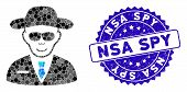 Mosaic Spy Icon And Grunge Stamp Seal With Nsa Spy Caption. Mosaic Vector Is Created With Spy Icon A poster