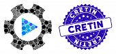 Mosaic Automation Gear Icon And Corroded Stamp Seal With Cretin Phrase. Mosaic Vector Is Formed With poster