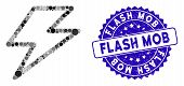 Mosaic Flash Icon And Distressed Stamp Seal With Flash Mob Phrase. Mosaic Vector Is Composed With Fl poster