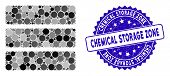 Mosaic Database Icon And Grunge Stamp Seal With Chemical Storage Zone Text. Mosaic Vector Is Designe poster