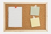 image of bulletin board  - Cork Pin Board with a sheet of paper notes and thumbtacks - JPG