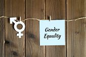 Symbol For Gender Equality Cut Out Of Paper And Sticky Note With The Inscription gender Equality A poster