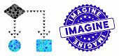 Mosaic Algorithm Flowchart Icon And Grunge Stamp Seal With Imagine Phrase. Mosaic Vector Is Formed W poster