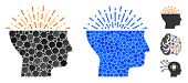 Imagination Composition Of Round Dots In Variable Sizes And Color Tones, Based On Imagination Icon.  poster