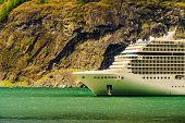 Cruise Ship On Fjord Aurlandsfjord In Norwegian Tourist Destination Flam. Travel Destination. poster