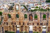 Astonishing View Of Ancient Ruins Of The Odeon Of Herodes Atticus. It Is A Small Building Of Ancient poster