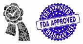Mosaic Approved Seal Icon And Grunge Stamp Seal With Fda Approved Phrase. Mosaic Vector Is Created W poster