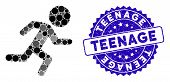 Mosaic Running Child Icon And Grunge Stamp Seal With Teenage Text. Mosaic Vector Is Created With Run poster